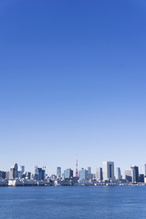 東京都市風景 全景 東京タワーと高層ビル