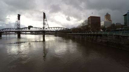 Portland Aerial Cityscape River Bridges