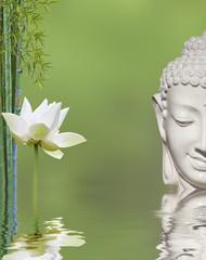 composition aquatique relaxante et bouddha souriant