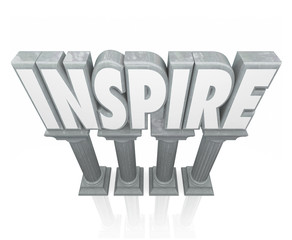 Inspire 3d Word Stone Marble Columns Encourage Success Motivatio