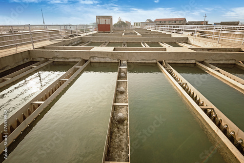 Fotobehang Kanaal Modern urban wastewater treatment plant.