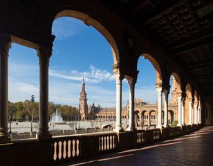 colonnade of  central building Plaza de Espana