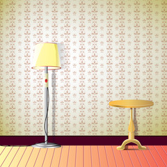 room with wallpaper, lamp and small desk