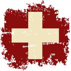 Swiss grunge flag. Vector illustration.