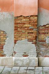 Crumbling plaster on a Venetian wall