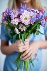 Fresh irises and daisies