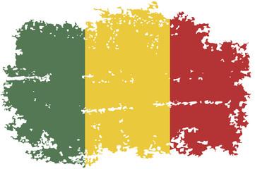 Mali grunge flag. Vector illustration.