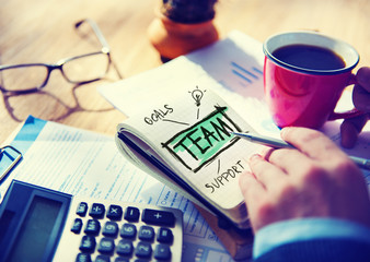 Team Accounting Working Office Cooperation Connection Concept