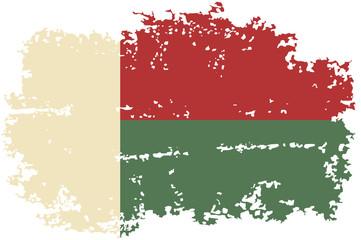 Madagascar grunge flag. Vector illustration.