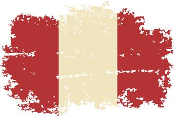 Peruvian grunge flag. Vector illustration.
