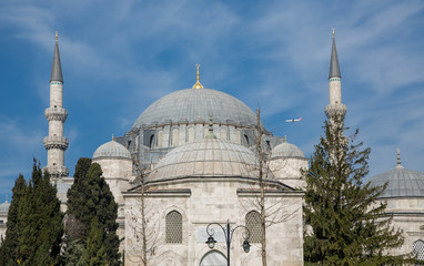 Suleymaniye Mosque and plane in the sky of Istanbul