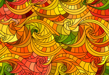 Vector seamless wave background of drawn lines