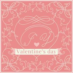 Happy valentines day! Vector ornate borders