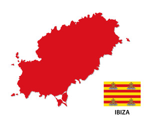 ibiza map with flag