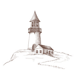 Pencil drawing - a lighthouse with a house