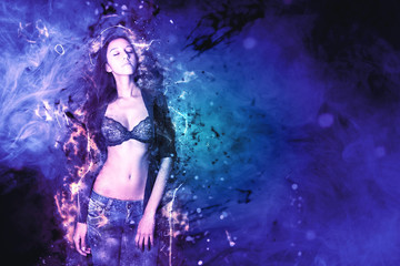 Slim Woman in Bra and Jeans on Abstract Background