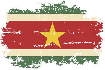 Surinamese grunge flag. Vector illustration.