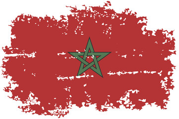 Moroccan grunge flag. Vector illustration.