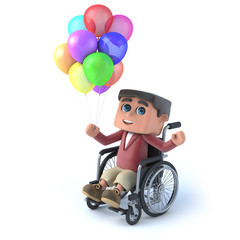 3d Boy in wheelchair with balloons