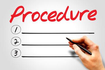 Procedure blank list, business concept