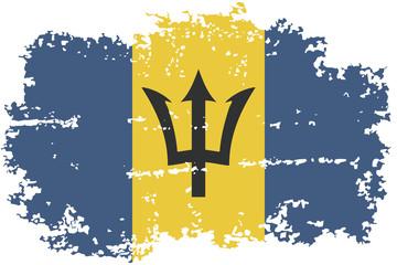 Barbados grunge flag. Vector illustration.