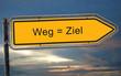 canvas print picture - Strassenschild 19 - Weg = Ziel