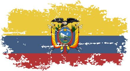 Ecuadorian grunge flag. Vector illustration.