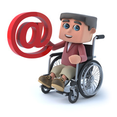 3d Boy in wheelchair has an email address