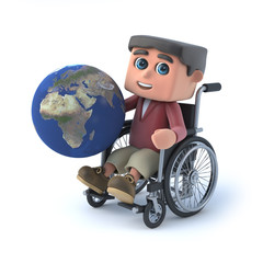 3d Boy in a wheelchair holding globe of the Earth