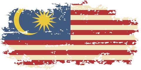 Malaysian grunge flag. Vector illustration.
