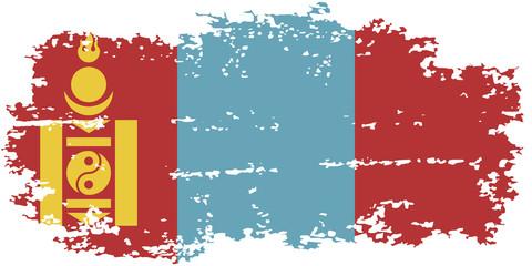 Mongolian grunge flag. Vector illustration.