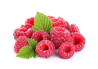 Raspberry fruit with leaf
