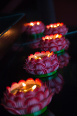 A row of burning lotus lamp,Pray for peace and happiness,