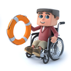 3d Boy in a wheelchair comes to the rescue