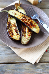 fried aubergine with spice on a plate