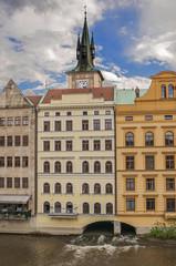 Buildings built over river in Prague