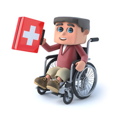 3d Boy in a wheelchair holding a first aid kit