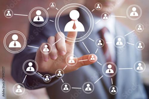 Leinwanddruck Bild Social network interface businessman touch button.