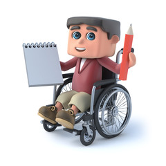 3d Boy in a wheelchair holding notepad and pencil