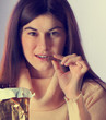 Young woman with with a chocolate bar
