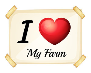A flashcard showing the love of a farm