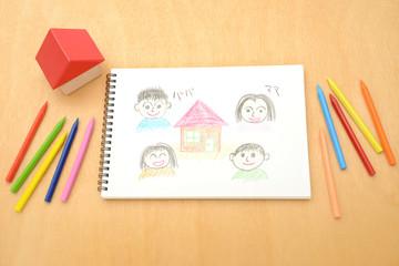 マイホーム購入イメージ―家と家族のスケッチ