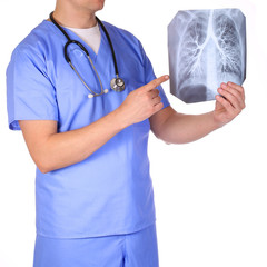 Doctor with stethoscope examining x-ray photos isolated on white