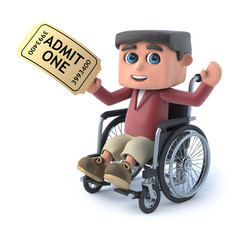 3d Boy in a wheelchair has a ticket