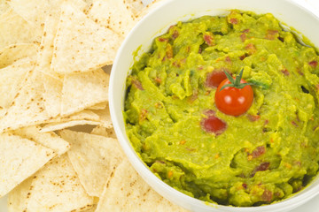 nachos with guacamole closeup