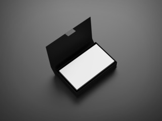 White business cards in the box on gray background