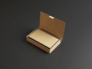 Craft business cards in the cardboarding box