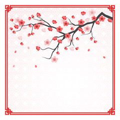 cherry blossom template with chinese frame pattern vector illust