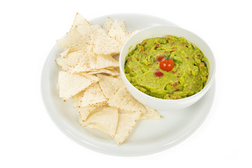 nachos with guacamole isolated on white