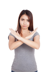 Young Asian woman gesturing stop, cross her arms